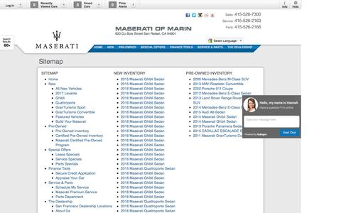 Screenshot of Site Map Page maseratimarin.com - Maserati of Marin   New Inventory for sale in San Rafael, CA 94901 - captured April 18, 2016