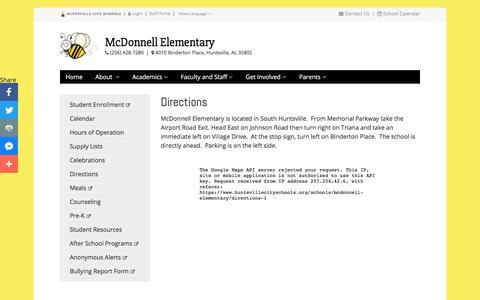 Screenshot of Maps & Directions Page huntsvillecityschools.org - Directions | McDonnell Elementary | Huntsville City Schools - captured Dec. 16, 2017