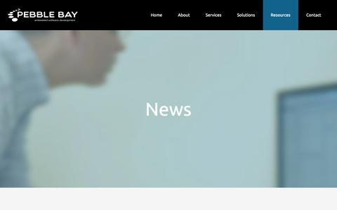 Screenshot of Press Page pebblebay.com - Pebble Bay - Embedded Software News - captured Sept. 27, 2018