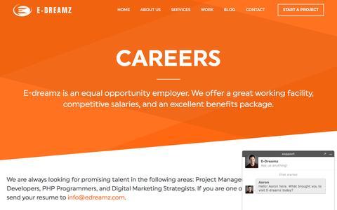 Screenshot of Jobs Page edreamz.com - Jobs | E-dreamz | Charlotte Web Development & Marketing - captured Sept. 30, 2016