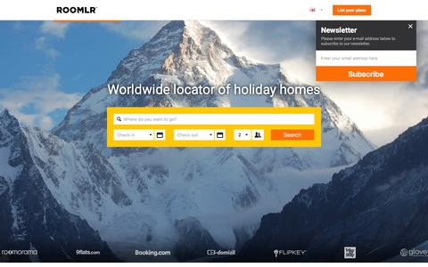 Screenshot of Home Page roomlr.com - Roomlr: Holiday Homes, Apartments, Vacation Rentals and Rooms for rent - captured Dec. 4, 2015