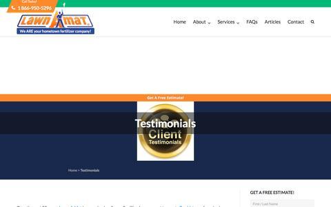 Screenshot of Testimonials Page lawnamat.net - Testimonials - Lawn-A-Mat Lawn Care - captured May 15, 2017
