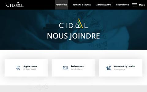Screenshot of Contact Page cidal.ca - Nous joindre - CIDAL - captured Nov. 3, 2018