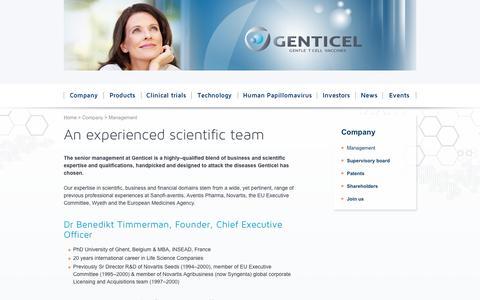 Screenshot of Team Page genticel.com - Management - Genticel - captured Sept. 29, 2014