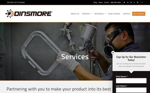 Screenshot of Services Page dinsmoreinc.com - Services | Dinsmore Inc. - captured Dec. 15, 2018