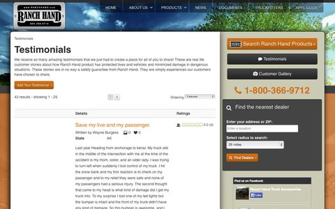 Screenshot of Testimonials Page ranchhand.com - Testimonials - captured Oct. 26, 2014