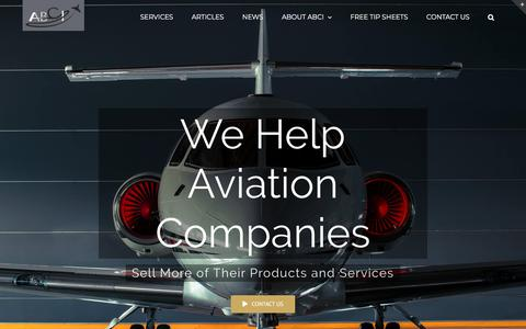 Screenshot of Home Page aviationbusinessconsultants.com - Aviation Marketing by ABCI | Aviation Business Consultants - captured Oct. 7, 2019