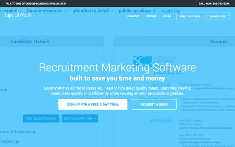 Screenshot of Home Page localwork.com - Recruitment Marketing Software | LocalWork - captured Nov. 11, 2016