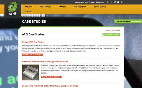 Screenshot of Case Studies Page acdi.com - Case Studies Archive - ACDI - captured Oct. 4, 2014