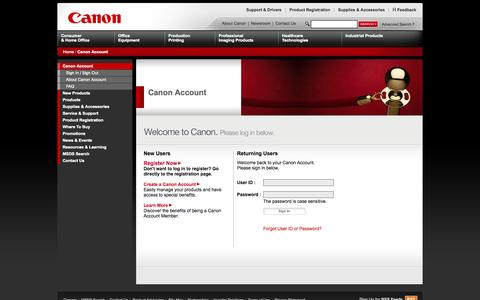 Screenshot of Login Page canon.com - Sign In - captured Sept. 19, 2014