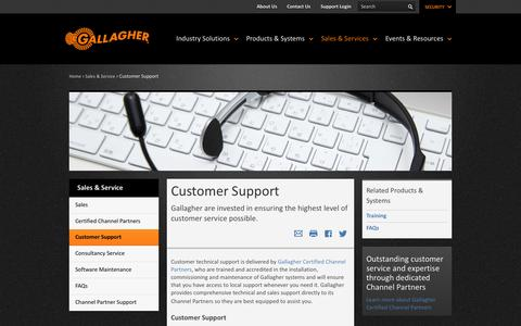 Screenshot of Support Page gallagher.co - Service & Customer Support - Gallagher Security - captured Sept. 22, 2014