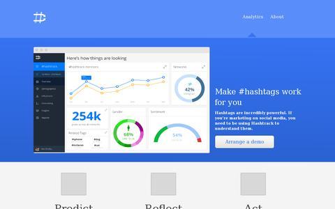 Screenshot of Home Page hashtrack.co - Hashtrack   Analytics - captured July 11, 2014