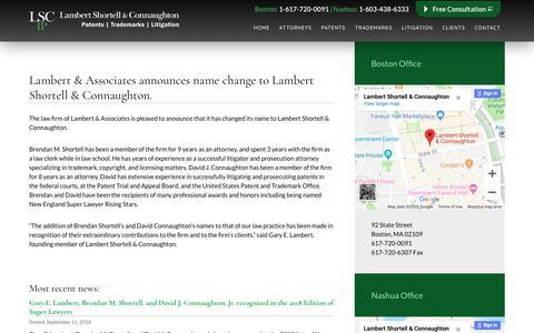 Screenshot of Press Page lambertpatentlaw.com - News | Lambert Shortell & Connaughton - captured Sept. 26, 2018