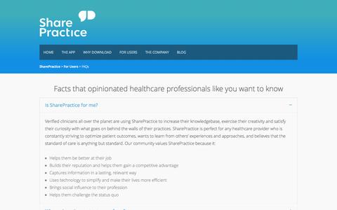 Screenshot of FAQ Page sharepractice.com - FAQs - SharePractice - captured Sept. 13, 2014