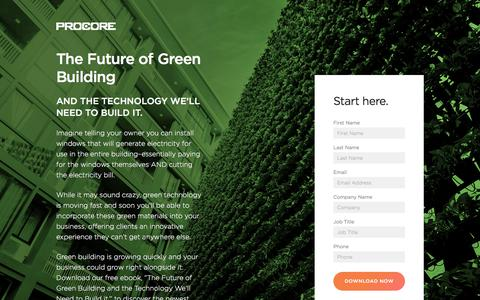 Screenshot of Landing Page procore.com - The Future of Green Building - captured March 31, 2018