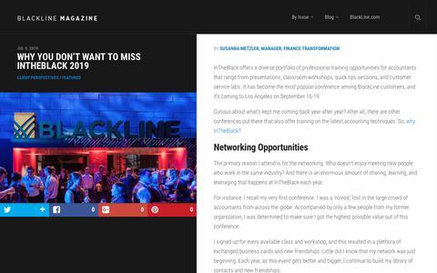 Screenshot of Case Studies Page blackline.com - Why You Don't Want to Miss InTheBlack 2019 | BlackLine Magazine - captured Nov. 29, 2019