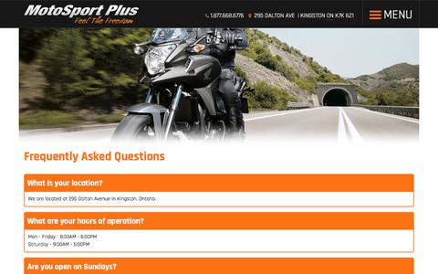 Screenshot of FAQ Page motosportplus.com - Faq | MotoSport Plus | Kingston Ontario - captured Nov. 16, 2017