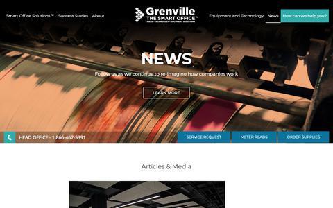 Screenshot of Press Page grenville.com - Grenville : News - captured Sept. 30, 2018