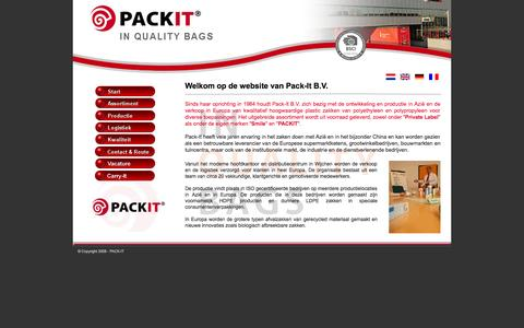 Screenshot of Home Page pack-it.nl - Start - captured Oct. 1, 2014