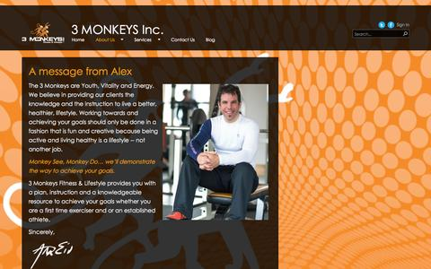 Screenshot of About Page 3monkeysfitness.ca - About us - captured Oct. 27, 2014