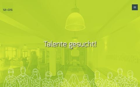 Screenshot of Jobs Page 12-05.de - Jobs : Werbeagentur in Solingen – 12-05 – Webdesign & Online-Marketing - captured Feb. 3, 2016