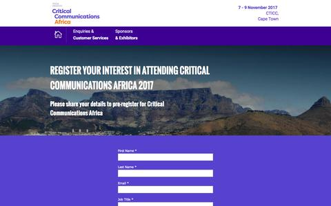 Screenshot of Landing Page knect365.com - Critical Communications Africa Register page. - captured Feb. 6, 2017