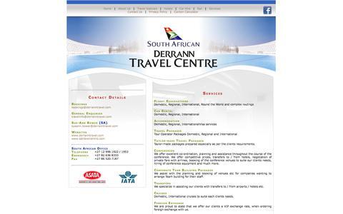 Screenshot of Services Page derranntravel.com - Derrann Travel - captured Oct. 5, 2014