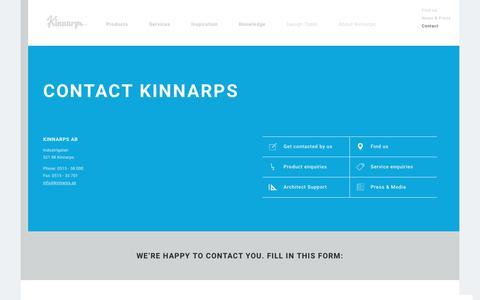 Screenshot of Contact Page kinnarps.com - Contact - Kinnarps - captured June 9, 2017