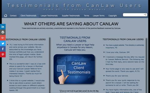 Screenshot of Testimonials Page canlaw.com - Contact us See unsolicited testimonials from people like you CanLaw contacts - captured June 29, 2017
