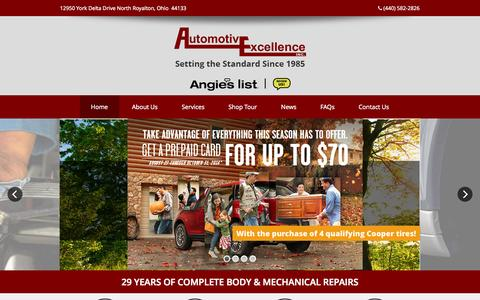 Screenshot of Home Page autoexinc.com - Automotive Excellence Inc. – Body Shop and Auto Service in North Royalton, Ohio - captured Oct. 4, 2014