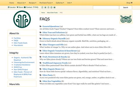 Screenshot of FAQ Page edenfoods.com - Eden Foods - Creation and Maintenance of Purity in Food® - captured Sept. 27, 2018