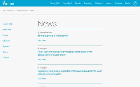 Screenshot of Press Page tudelft.nl - News - captured Oct. 25, 2018