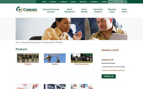 Screenshot of Products Page cowangroup.ca - Products - Property Insurance | Cowan Insurance Group - captured Sept. 6, 2017