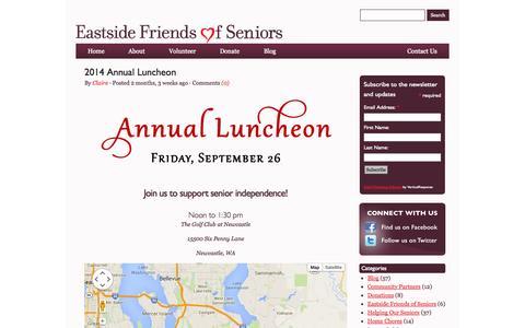 Screenshot of Blog eastsidefriendsofseniors.org - Eastside Friends of Seniors' Blog | Eastside Friends of Seniors - captured Sept. 27, 2014