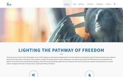 Screenshot of Home Page torchtechnologies.com - Torch Technologies – Lighting the Pathway of Freedom - captured Sept. 22, 2019