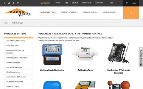 Screenshot of Products Page raecorents.com - Air & Noise Exposure Monitoring Instruments & Gas Detection Rentals  | RAECO Rents - captured June 18, 2017