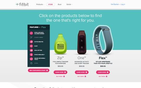Screenshot of Products Page fitbit.com - Product Comparison - captured Sept. 16, 2014