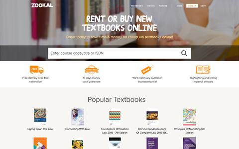 Screenshot of Home Page zookal.com - Cheap Uni Textbooks Online. Rent, Buy New or Sell Australian Textbooks | Zookal.com - captured Nov. 14, 2015