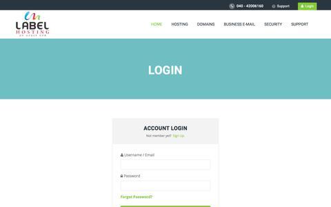 Screenshot of Login Page labelhosting.com - Web hosting, reseller hosting, email Hosting, domain name registration, - captured July 7, 2017