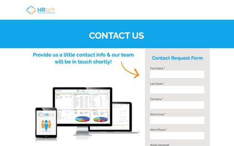 Screenshot of Contact Page hrsoft.com - Contact Us - HRsoft - captured July 3, 2016