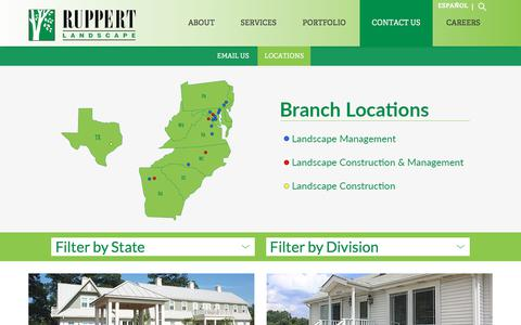 Screenshot of Contact Page Locations Page ruppertlandscape.com - Contact Us | Speak with a Commercial Landscaping Contractor | Ruppert Landscape - captured Nov. 11, 2017