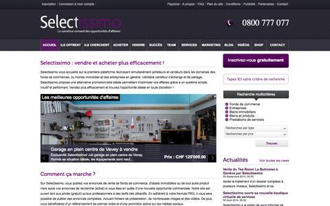 Screenshot of Home Page selectissimo.ch - Selectissimo : achat et vente de fonds de commerce et de biens immobiliers, cession d'entreprises en Suisse romande - captured Sept. 26, 2014