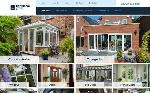 Screenshot of Products Page hazlemere.co.uk - UPVC & Aluminium Conservatories & Orangeries    Windows & Doors   Hazlemere - captured Jan. 27, 2016
