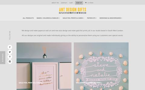 Screenshot of Home Page antdesigngifts.co.uk - Personalised Gifts|Wedding|Baby|Anniversary|Family|Art Prints - captured Jan. 6, 2017