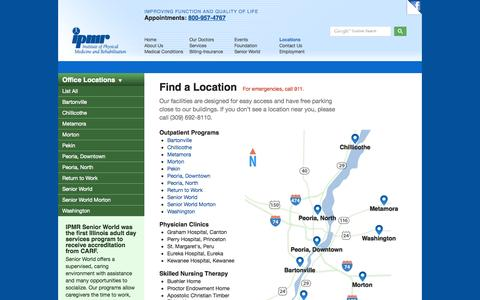 Screenshot of Locations Page ipmr.org - Find a Location   IPMR Institute of Physical Medicine and Rehabilitation - captured Sept. 30, 2014