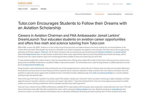 Screenshot of Press Page tutor.com - Press Release 01/29/2009 - Tutor.com - captured Dec. 30, 2017