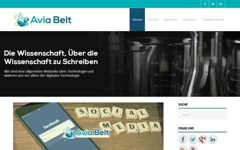 Screenshot of Home Page aviabelt.de - Avia Belt - Die Wissenschaft, Über die Wissenschaft zu Schreiben - captured Nov. 13, 2018