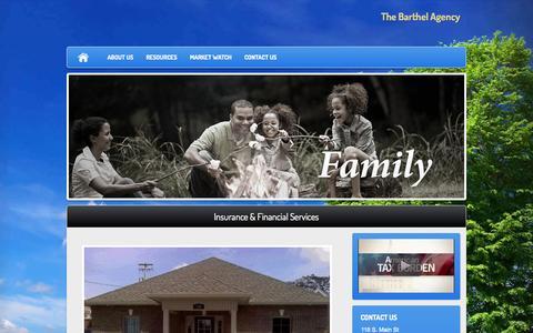 Screenshot of Home Page thebarthelagency.com - The Barthel Agency - captured Sept. 30, 2014