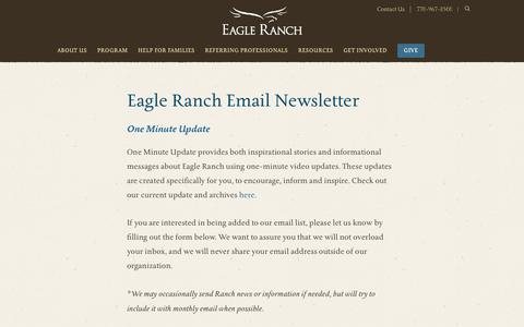 Screenshot of Signup Page eagleranch.org - Eagle Ranch Email Newsletter - Eagle Ranch - captured Sept. 26, 2018