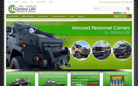 Screenshot of Home Page globallav.com - Global LAV - Armored Cars | SWAT | Riot| Vehicles | SUVs - (813) 602-1748 - captured Oct. 2, 2014